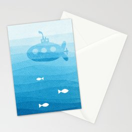 submarine, blue watercolor Stationery Cards