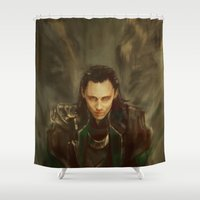 alicexz Shower Curtains featuring Descension by Alice X. Zhang