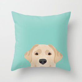 Yellow Lab dog portrait labrador retriever dog art pet friendly Throw Pillow