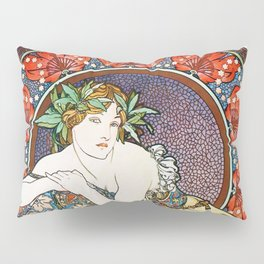"Alphonse Mucha ""Girl With Easel"" Pillow Sham"