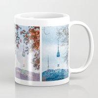 seoul Mugs featuring Seoul Tower Seasons - Square by Zayda Barros