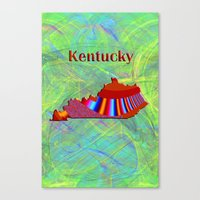 kentucky Canvas Prints featuring Kentucky Map by Roger Wedegis