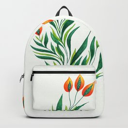 Abstract Green Plant With Orange Buds Backpack