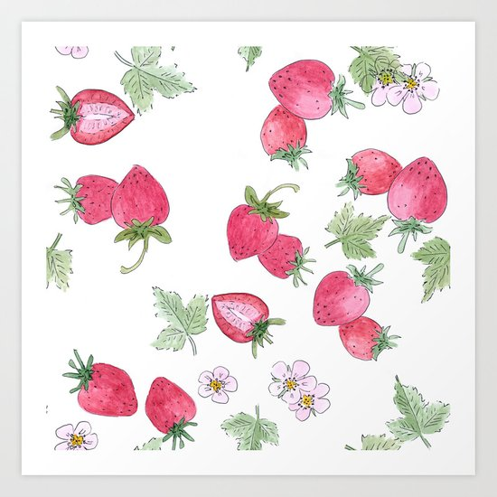 Watercolor . Strawberry on a White background . Art Print