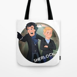Sherlock Holmes and Watson cartoon Tote Bag