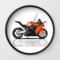 motorbike Wall Clocks featuring KTM RC8 motorbike by cjsphotos