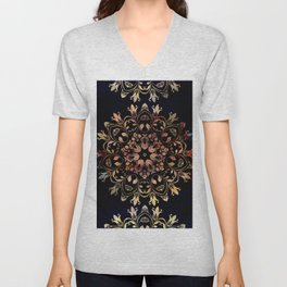 deep toned mandala pattern Unisex V-Neck