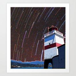 Brockton Point Lighthouse Stars Art Print