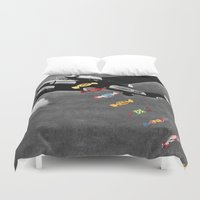 eugenia loli Duvet Covers featuring Candy Bomber by Eugenia Loli