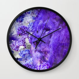LION AND ORCHIDS  PURPLE AND BLUE FANTASY DREAM Wall Clock