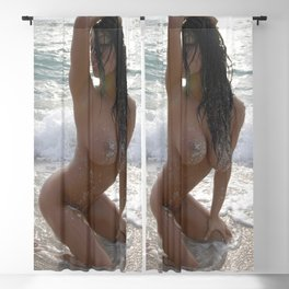 9978-SS Beautiful Naked Woman Nude Beach Sand Surf Big Breasts Long Black Hair Sexy Erotic Art Blackout Curtain