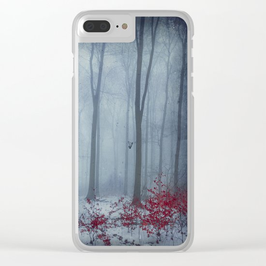 Winter Forest in Red and Blue Clear iPhone Case