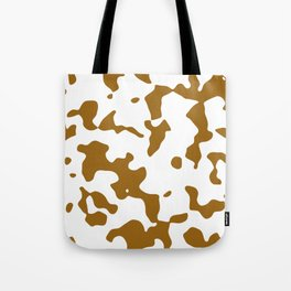Large Spots - White and Golden Brown Tote Bag