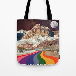 Trippy 1960s Stars and Moon Retro Red Rock Canyon Collage Milky Way Galaxy Colors Tote Bag