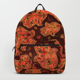 Hamsa Hand -Hand of Fatima pattern reds Backpack