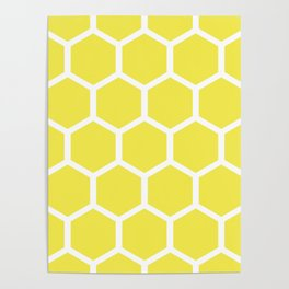 Honeycomb pattern - lemon yellow Poster