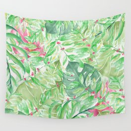 Hand painted watercolor green pink tropical leaves floral Wall Tapestry