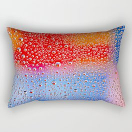 Colorful abstract wallpaper, waterdrops over multicolor background Rectangular Pillow