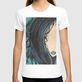 Blue and Black Hair Girl Mermaid Painting by Jodi Tomer. Figurative Abstract Pop Art. T-shirt