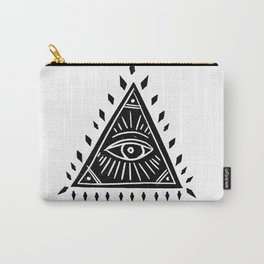Linocut Pyramid eye black and white symbology Carry-All Pouch