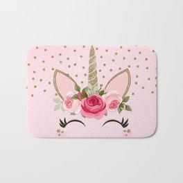Pink & Gold Cute Floral Unicorn Bath Mat