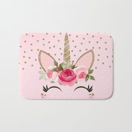 Pink & Gold Cute Floral Unicorn Bath Mat