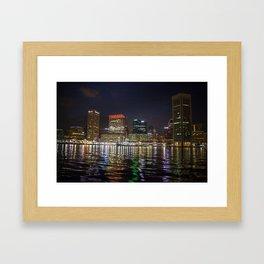 Baltimore Inner Harbor at Night Framed Art Print