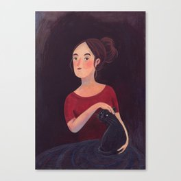Girl and a cat. Canvas Print
