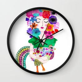 Magical chicken lady Wall Clock