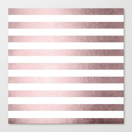 Simply Striped Rose Gold Palace Canvas Print
