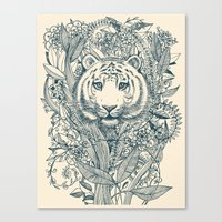 tiger Canvas Prints featuring Tiger Tangle by micklyn