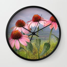 Wild Purple Coneflowers Wall Clock