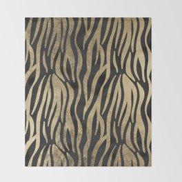 Modern elegant black faux gold trendy zebra animal print Throw Blanket