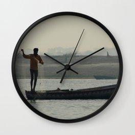 Fishermen Casting Nets Wall Clock