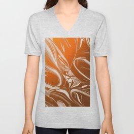 Copper Swirl - Copper, Bronze, gold and white metallic effect swirl pattern Unisex V-Neck