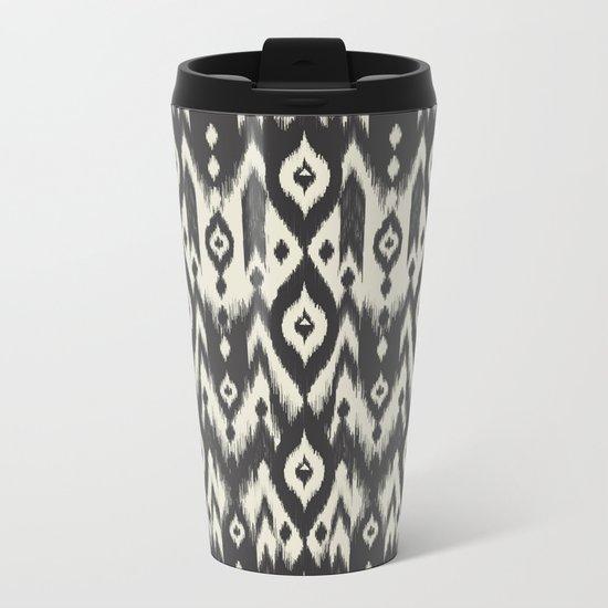 Black & Cream Tribal Ikat Metal Travel Mug