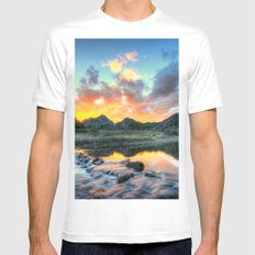 Sunset Landscape #river MEDIUM White Mens Fitted Tee