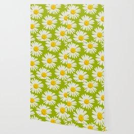 Daisies on a vivid green background - #Society6 #buyart Wallpaper