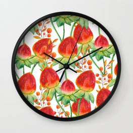 Watercolor hand painted red orange yellow tulip flowers Wall Clock