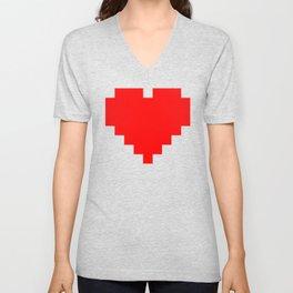 8-bit heart Unisex V-Neck