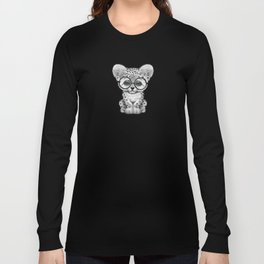 Cute Snow Leopard Cub Wearing Glasses on Deep Red Long Sleeve T-shirt