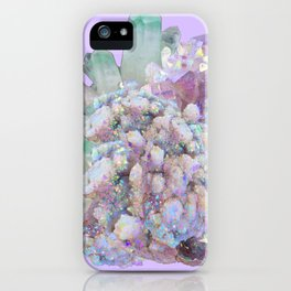 GLITTERING GREEN & PURPLE QUARTZ CRYSTALS ART iPhone Case