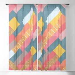 Colorful blocks Sheer Curtain