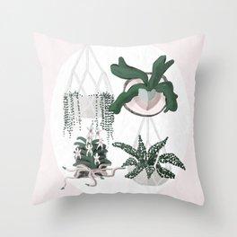 Plant Family Portrait for Plant Moms, Plant Ladies, and Plant Parenthood Throw Pillow