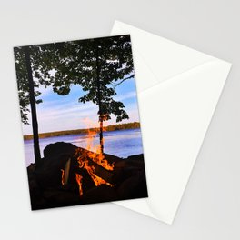 Campfire on Lake Pemaquid, Maine Stationery Cards