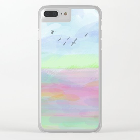 Pastel dreamscape Clear iPhone Case