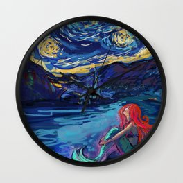 Starry Starry Night meets Mermaid Wall Clock