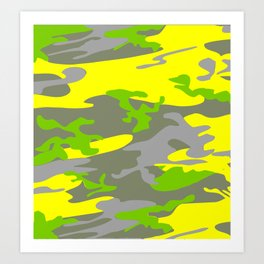 Bright Yellow army camouflage pattern design Art Print