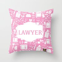 lawyer Throw Pillows featuring Pink Lawyer by Be Raza