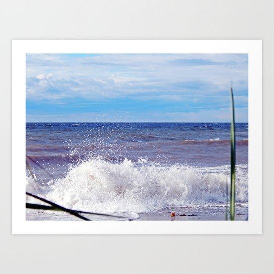 Wave Crashing onto the Beach Art Print
